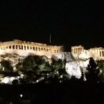 photo of the Acropolis from the roof top patio