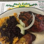 The white meat roasted chicken with yellow rice, black beans, and plantains. So good!