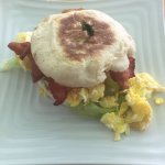 Breakfast sandwich on an English muffin