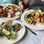 Dinner at Green Flash,,,, Oysters Rockefeller , stuffed grouper and seafood platter