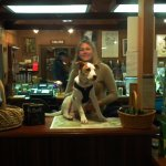 In the Visitor Center. Her Dog and the Cashier