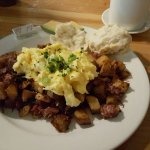 Light on the corned beef, heavy on the rock hard potato chunks. Good eggs though