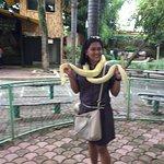 Kat holding a big snake.