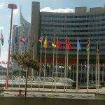 Internal courtyard with the member states' flags