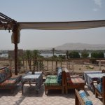 Rooftop terrace views of Luxor Temple and the Nile