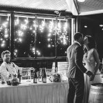 Sparks fly as a couple share their first kiss as a married couple.