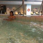 Enjoying the huge hot tub!