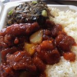 2 items with rice - sweet & sour pork and minced pork with preserved vegetables