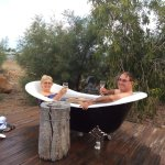 Famous outdoor baths on the deck, as seen on the TV show Qld Weekender
