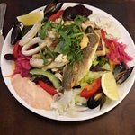Seafood salad. Lots of fish.Very filling.
