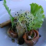 salade foie gras ,makis de jambon ,terrine de pot au feu.