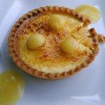 crème brulée facon tartelette au billes de pomme