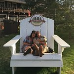 This large andirondack chair is perfect for pictures with the family.