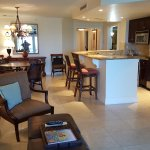 Living room, kitchen & dining areas in suite