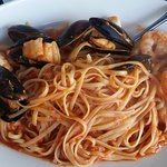 Linguini Malafemmina:  Shrimp, calamari, sea scallops, and mussels sautéed with garlic and basi