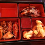 Chicken teriyaki, pork ribs, cod cheek tempura