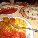 In Akash, dinner for two (naan, rize, masala, spicey chicken, potatoes)