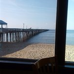 View from my table, looking out at the fishing pier.