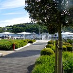 The boardwalk through the garden to the Marina