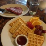 Waffles with ham