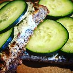 Grilled cucumber dill toast.