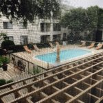 Outdoor pool as seen from room #210