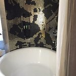 worth noting the window in the bathroom (this is the bathtub) - the window overlooks bed