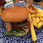 Empire State Burger served with chips and onion rings