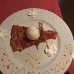 The passion fruit upside down tart with ice cream