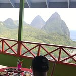 private lunch with a fantastic view of thePitons,