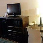 TV, Microwave, Fridge, & desk area