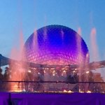 Lightshow and water dance at nightfall.