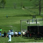 Amish playing a game