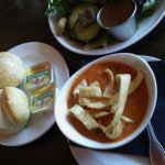 Soup and Salad with dinner bread.