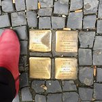 Near hotel - the Stolpersteins commemorating Jewish residents who lost lives in concentration ca