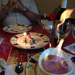 NY Cheesecake, Flaming Creme Brulee, Anniversary plate