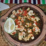 prawns mixed with spinach and Moroccan spices
