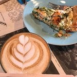 Latte and quiche for brunch - delish!