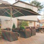 Sunny beer garden with outdoor bar
