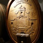 carvings on the wine barrels