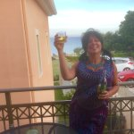 Glass of wine on our balcony