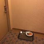 Used room service tray (not mine) outside my door