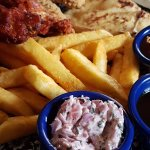 Chicken Wings/Breast/Dippers combo plate, £8.25.