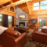 Smoky Mountain Majesty, Main Living Room with Wood Burning Fireplace