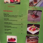 Cold Appetizer Menu