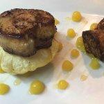 Appetizer of foie gras on crispy tortilla