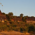 View of the hotel at sunset from the Siduli hide