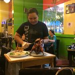 Service of the roasted duck (pecking duck)