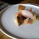 Yorkshire rhubarb, caramelised white chocolate and wild fennel