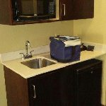 Microwave, sink and fridge in room 204